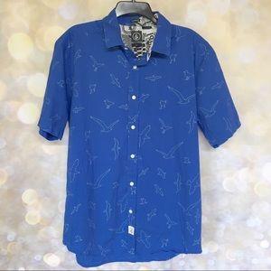 Volcom Men's Shirt L Gullz SS Seagulls Blue White